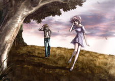Cute couple is walking along the beautiful field on the hill (mi. Fantasy drawing: Cute couple is walking along the beautiful field on the hill (misty version Stock Photography