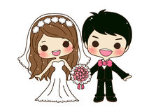 Cute couple wedding. Cute cartoon couple wedding with floral bouquet
