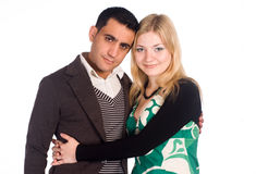 Cute couple on white Stock Photography