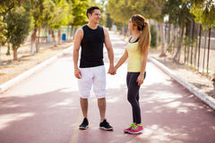 Cute couple working out together Royalty Free Stock Photos