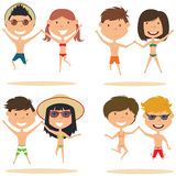 Cute couples jumping on the beach vector illustration. Stock Illustration