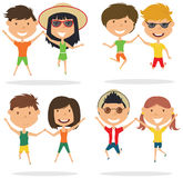 Cute couples jumping outdoor vector illustration. Royalty Free Stock Photo