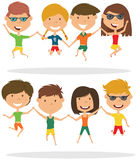 Cute couples jumping outdoor vector illustration. Stock Images