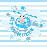 Cute cow as helicopter pilot vector cartoon illustration for Kid t-shirt background design. Postcard, and wallpaper Royalty Free Stock Photography