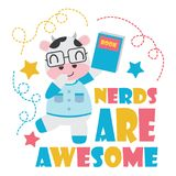 Cute cow as nerd boy  cartoon illustration for Kid t-shirt background design. Postcard, and wallpaper Royalty Free Stock Image