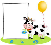 Cute cow with blank label Stock Images