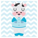 Cute cow boy on chevron background  cartoon illustration for Baby nursery wall. Wallpaper and postcard Royalty Free Stock Photography