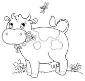 Cute cow bw royalty free illustration