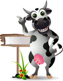 Cute cow cartoon with blank board. Vector illustration of cute cow cartoon with blank board vector illustration