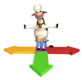 Cute Cow cartoon character with Arrow sign Royalty Free Stock Image