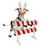 Cute Cow cartoon character with baracades Stock Photography