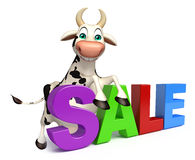Cute Cow cartoon character with big sale Stock Image