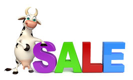 Cute Cow cartoon character with big sale Royalty Free Stock Images