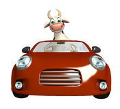Cute Cow cartoon character with car Stock Photo