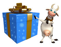 Cute Cow cartoon character with gift box Stock Photos