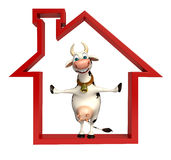 Cute Cow cartoon character with home sign Stock Photography
