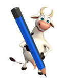 Cute Cow cartoon character  with pencil Stock Photography