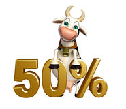 Cute Cow cartoon character with 50% sign Royalty Free Stock Images