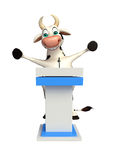Cute Cow cartoon character with speech stage Stock Image