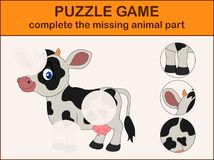 Cute cow cartoon. Complete the puzzle and find the missing parts of the picture. Illustration of Cute cow cartoon. Complete the puzzle and find the missing parts Stock Photos