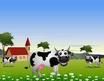 Cute cow cartoon with landscape background Stock Photo