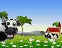 Cute cow cartoon with landscape background Royalty Free Stock Image