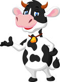 Cute cow cartoon presenting Royalty Free Stock Image