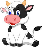 Cute cow cartoon sitting Stock Images
