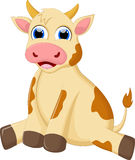 Cute cow cartoon sitting Stock Photos