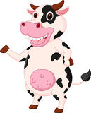 Cute cow cartoon waving hand Royalty Free Stock Image