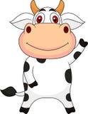 Cute cow cartoon waving Stock Photography