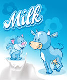 Cute cow and cat  on blue milk design - vector Stock Images