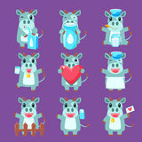 Cute Cow Character Set Royalty Free Stock Images