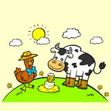 Cute Cow and Chicken hatching egg Stock Images
