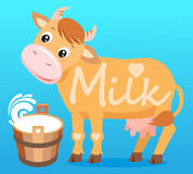 Cute Cow. Cow And Milk. Cow On A White Background. Farm Animal Character. Stock Image