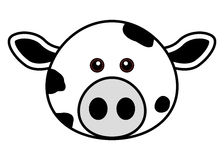 Cute Cow Face. Cute animal faces in  (One of 25 of them Royalty Free Stock Photos