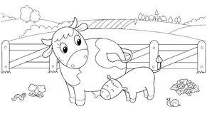 Cute cow feeding calf vector illustration