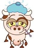 Cute cow feeling sad and sick stock illustration
