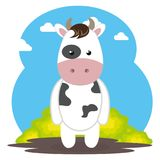 Cute cow in the field landscape character. Vector illustration design Royalty Free Stock Photography