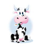 Cute cow with a flower. Illustration of a small cow as a mascot for milk or similar product, as well as independent vignettes Stock Photos