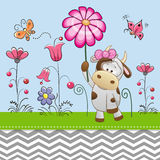 Cute Cow with a Flower Royalty Free Stock Images