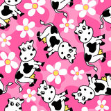 Cute cow and flowers seamless pattern Royalty Free Stock Photography