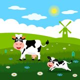 Cute cow and funny calves graze on green grass on the background of a rural summer landscape, farm and mills. Flat vector. Illustration in cartoon style stock illustration