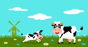Cute cow and funny calves graze on green grass on the background of a rural summer landscape, farm and mills. Flat vector. Illustration in cartoon style vector illustration
