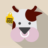 Cute Cow Head With Ear Tag. Royalty Free Stock Images