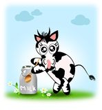 Cute cow with jug of milk Stock Photography