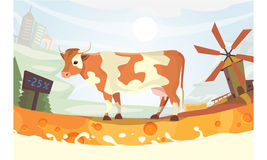 Cute cow with milk river Vector illustration. colorful landscape fith farm. cartoon mammal animal Royalty Free Stock Image