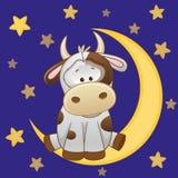 Cute Cow on the moon Stock Photos