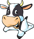 Cute cow peeking and show thumb up - vector Stock Images