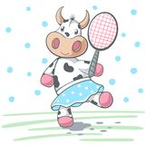 Cute cow plat big tennis. royalty free illustration